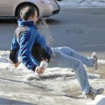 winter weather hazards - slip on ice